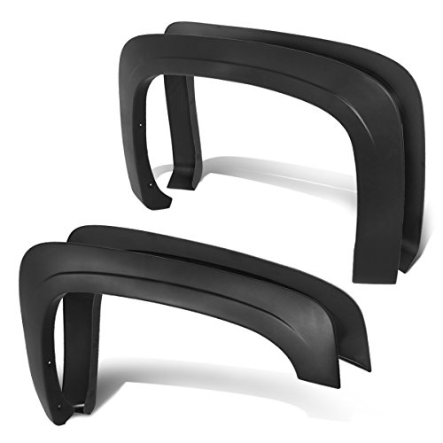 DNA MOTORING IF-10018-MBK 4Pcs OE Style Wheel Fender Flares [for 07-14 Chevy Silverado] -