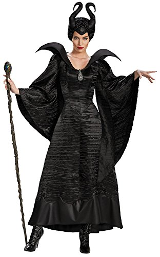 UHC Women's Disney Maleficent Black Christening Gown Deluxe Fancy Costume, L (Disney Villains Costumes-women)