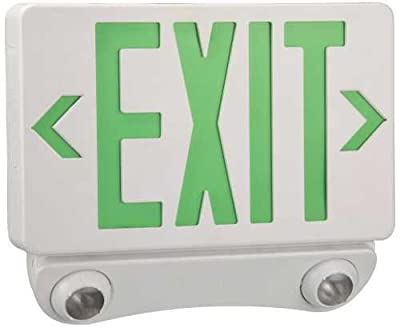MONUMENT 617136 Combination Led Exit Sign & Emergency Light, Green Lettering -