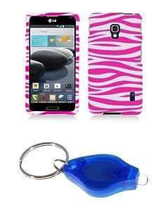 Hot Pink and White Zebra Stripes Design Shield Case + Atom LED Keychain Light for LG Optimus F6