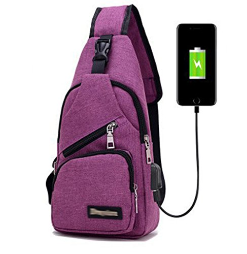 Cheap Men and Women Sling Backpack Chest Crossbody Bags Hiking Travel Backpack Daypack with USB Charging Port