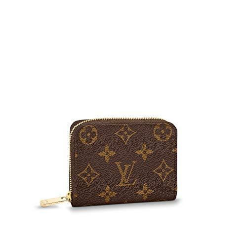 Retro Monogram Practical Compact Wallets Printed Canvas Leather Zipper Coin Purse Pocket for Women 11.0 x 8.5 x 2.0 cm