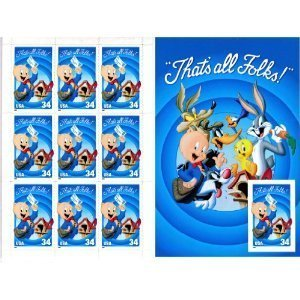 (USPS Porky Pig Sheet of Ten Stamps with Imperforate Stamp Error Scott #)