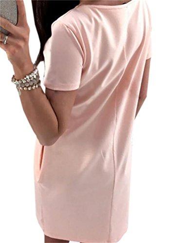 Domple Manches Courtes Occasionnel Des Femmes De Sequin Poches T-shirt Imprimé Mini-robe Rose