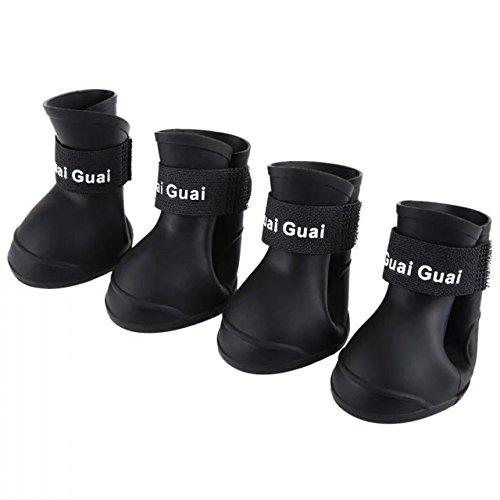 Pinze Dog Cat Boots Durable Dog Cat Waterproof Rain Shoe 2 Pair Black