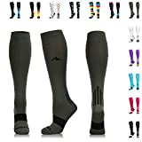 NEWZILL Compression Socks (20-30mmHg) for Men & Women - Best Stockings for Running, Medical, Athletic, Edema, Diabetic, Varicose Veins, Travel, Pregnancy, Shin Splints. (Gray, Large)