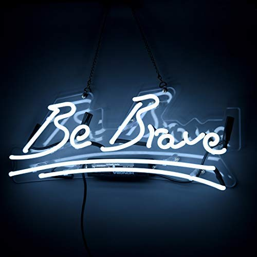 "FLYDOO Be Brave Shaped Neon Signs Handmade Glass Neon Lights White Office Sign for Home Bedroom Wall Decor Night Light 17"" x 7"""
