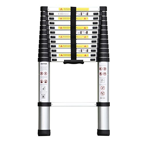 Locking Ladder (Remylady EN131 Aluminum Telescopic Extension Ladder with Spring Loaded Locking Mechanism, Non-slip Ribbing, 330lb. Capacity, 12.5ft)