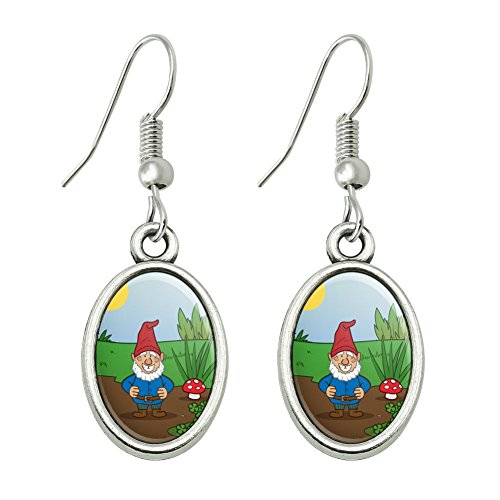 GRAPHICS & MORE Garden Gnome Toadstools Novelty Dangling Drop Oval Charm Earrings -