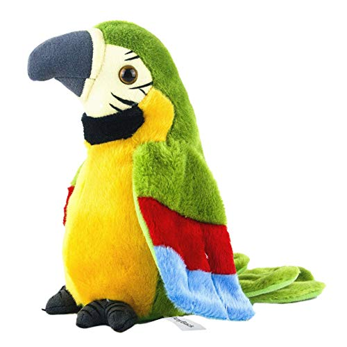 AnyBack Talking Parrot, Electronic Stuffed Plush Animals Pets Toys, Electric Plush Cute Mimicry Pet Animal Repeating Toy Stuffed Animals Toys for Kids Boys Girls Toddlers 1 Pack Green by AnyBack