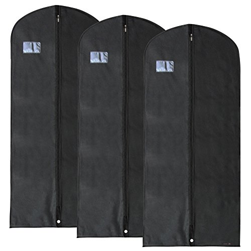 HANGERWORLD 3 Black 54inch Breathable Suit Coat Garment Clothes Carry Cover Storage Protector Bags