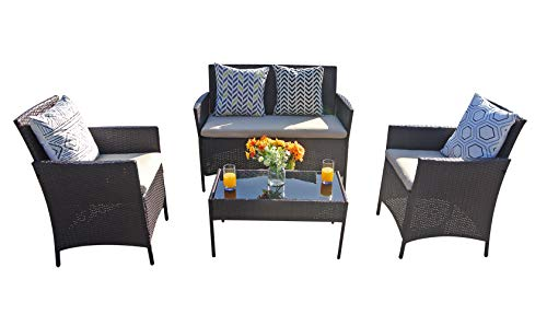 Outdoor Chairs Patio Furniture Set Clearance Balcony Garden Rattan Small Cheap Furniture Set (Khaki)