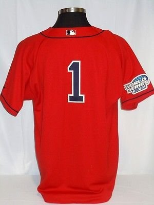 Boston Red Sox #1 Authentic Red Jersey with 2004 World Series Patch Size 52 2004 World Series Patch