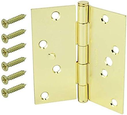Bright Brass Finish Set of 3 Everbilt Square Door Hinges 4 in
