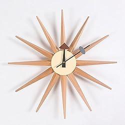 HHYS Nelson Style Sunburst Wooden Wall Clock Mid Century Handmade Antique Retro Danish Wood Color H663