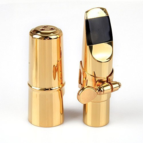 Aibay Gold Plated Metal Bb Soprano Saxophone Mouthpiece + Cap + Ligature #7 by Aibay®