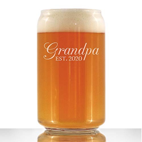 Grandpa Est 2020 – New Grandfather Beer Can Pint Glass Gift for First Time Grandparents – Decorative 16 oz Glasses