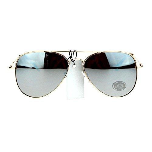 Classic Mens Reflective Silver Mirror Lens Motorcycle Cop Aviator Sunglasses - Sunglasses Gold Rim Aviator