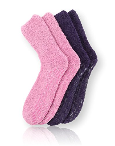 (Pembrook Non Skid Socks - Hospital Socks - Fuzzy Slipper Socks -(2-Pack) Purple/Pink. Great for adults, men, women. Designed for medical hospital patients but great for)