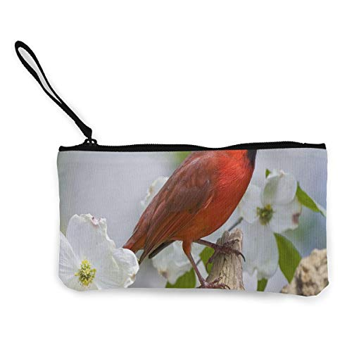 Coin Purse Red Bird and White Plum Womens Zip Canvas Wallets TravelFabulous - Liz Claiborne Red Handbag