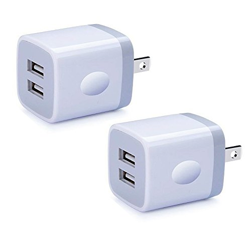 Base Outlets (USB Wall Charger, Charger Box Cube, NINIBER 2-Pack 2.1Amp Dual Port Fast Charging Plug Base Power Adapter for iPhone X 8/7/6 Plus SE/5S/4S,iPad, iPod, Samsung, LG, Moto, HTC, Android Phone)