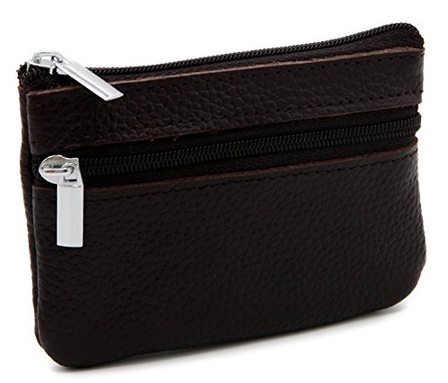 (DKER Genuine Leather Card Case Wallet/Coin Change Purse with Key Ring - Coffee)