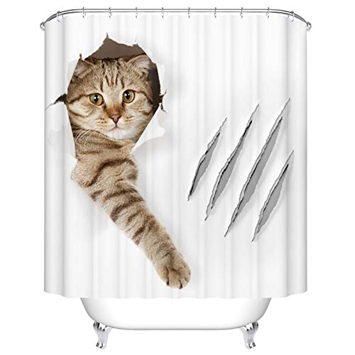 DUISE Cute Shower Curtain Set, Funny cat in Wallpaper Hole with Claw Scratches Isolated, Bathroom Cover Curtain, Fabric Bathroom Set with Hooks, 72W X 84L Inches, Bathroom ()