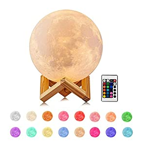 Deewin Moon Light Lamps with Stand 3D Printing Moon Lamp 16 Color LED Dimmable with Touch/Remote Control Control USB Charging Light for Lover Kids Party Gift (Diameter:3.5inch)