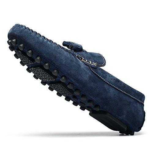 Icegrey Hombre Mocasines Zapatos Mocasín con La Borla Brogue Casual Zapatos Estilo de Conducción Azul