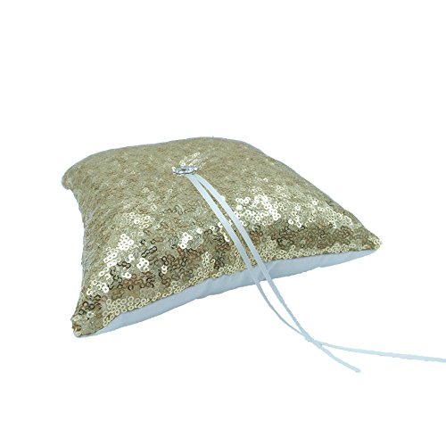 Decor Flower Sequin (Abbie Home Sequin Glitter Wedding Ring Pillow Rhinestone Décor Wedding Party Favor (Gold Pillow))