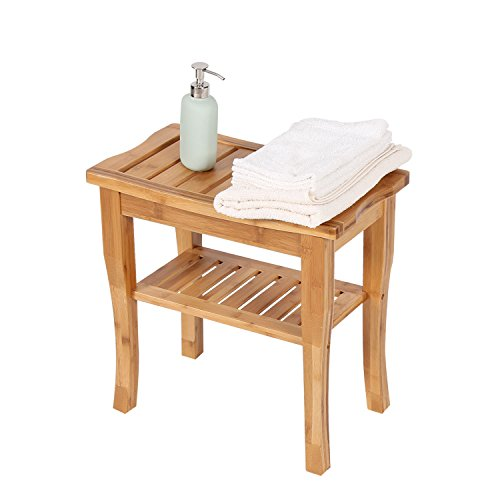 Peach Tree Home Bamboo Shower Seat Bench Spa Bath Deluxe Organizer Stool With Storage Shelf For Seating Indoor & Outdoor Bathtub Shower Chair Spa Seat (18.7'' x 9.6'' x 17.7'' Shower Bench) by Peachtree Press Inc