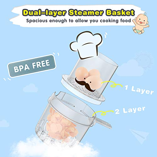 Elechomes Baby Food Maker Processor, Double Steam Basket Cooker with Timer, Blender, Steamer for Baby Infants Toddlers Food by Elechomes (Image #3)