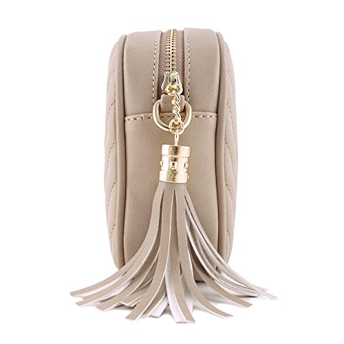 Simple Shoulder Crossbody Bag With Metal Chain Strap And Tassel Top Zipper (Taupe) by 153corp (Image #2)