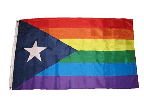 3X5 Puerto Rico Rainbow Gay Pride Flag 3'X5' Banner Brass Grommets