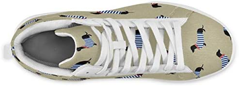 メンズ カラフルな縞模様の犬 スケートボードシューズ ミッドカット 日常着用 ハイカット レースアップ スニーカー カジュアル ドレスシューズ ハイトップ ショートブーツ デッキシューズ 運動靴