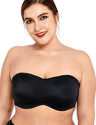 DELIMIRA Women's Smooth Seamless Invisible Underwire Strapless Minimizer Bra Black 40F (Microfiber Underwire Bustier)