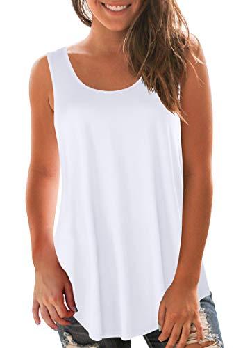 (Sousuoty Scoop Neck Tank Tops for Women Spring Swing Sleeveless Shirts White XXL)