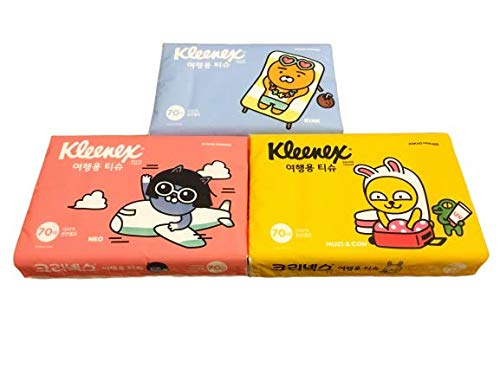 - Kleenex & Kakao Friends Travel Packs (Soft Pack) / Pocket Tissues, 70 Counts Each (3 Packs, 210 Tissues Total, cute character tissue for kid, school, travel, camping, office, car)