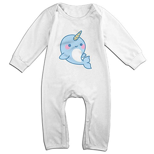 Fillmore Cute Narwhals Dolphi Unicorn Long Sleeve Romper Tank Tops For 6-24 Months Infant 6 M White