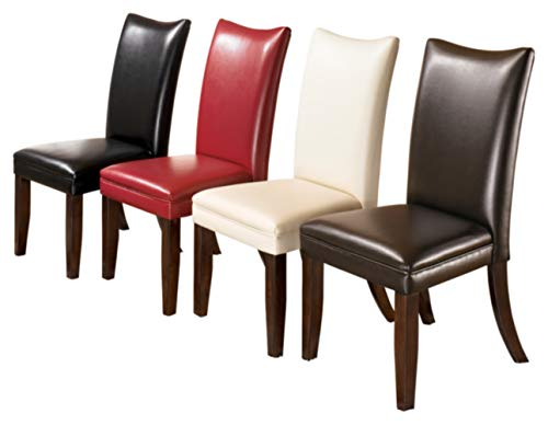 Signature Design by Ashley - Charrell Dining Upolstered Side Chair - Set of 2 - Contemporary Style - Medium Brown - SET OF TWO CLASSIC DINING ROOM CHAIRS: The contemporary Parsons shape of this faux leather upholstered dining chair is a comfortable addition to any dining room HANDSOME LINES: Dining chair with a cushioned seat and back is crafted from wood and manmade wood RICH LEATHER LIKE FEEL: Easy to clean medium brown faux leather upholstery. Legs feature a faux wood finish - kitchen-dining-room-furniture, kitchen-dining-room, kitchen-dining-room-chairs - 411%2BgPTWuhL -