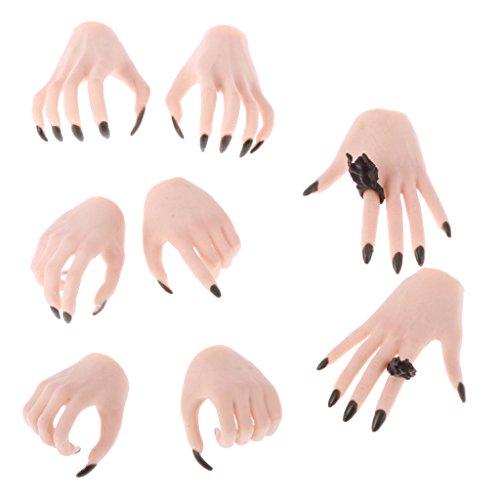 [해외]1:6 일반 스킨 짙은 녹색 손톱 손 모델의 다양 한 제스처와 12 ` ` 뜨거운 장난감 측면에 대 한 신체 부품의 호 일 4 쌍 작업 그림 / Homyl 4 Pairs of 1:6 Normal Skin Dark Green Nails Hands Models with Various Gestures Body Parts for 12`` H...