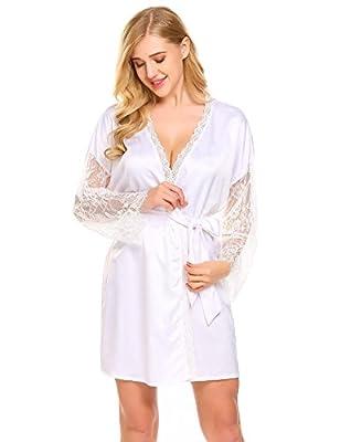 Dicesnow Women's Lace Trim Kimono Robe Nightwear Nightgown Sleepwear Satin Short Robe