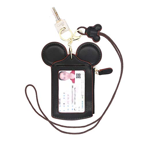 (HXQ ID Holder With Lanyard Badge Holder,PU Leather newchic Cute Animal Shape neck wallet for Women, Black, Small)
