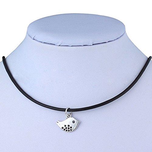 Pusheng Retro Charm Pendant Necklace Tibetan Silver Boho Black Rubber Cord Bird