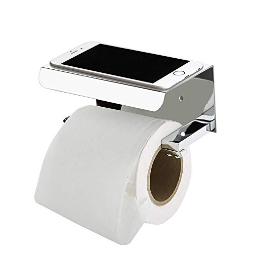 Plantex Platinum Stainless Steel 304 Grade Toilet Paper Holder with Mobile Phone Stand – Bathroom Accessories (Chrome…