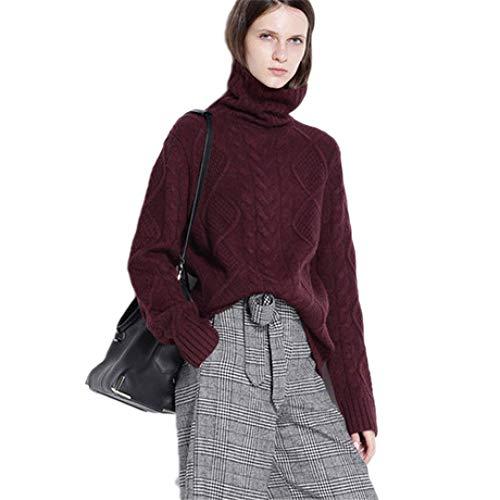 (QJKai Knitwear Women's Autumn and Winter Cashmere Sweater Body Twist Turtleneck Sweater Loose Padded Shirt)