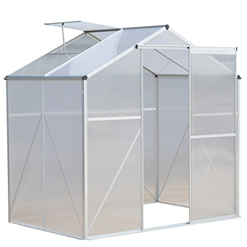 Giantex 4 x6 ft Walk in Greenhouse with Clear Cover Heavy Duty Polycarbonate Roof Aluminum Frame,Herb and Flower Garden Green House For Sale