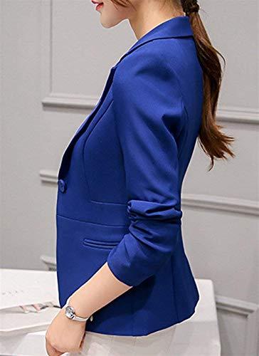 Sapp Di Da Bavero Suit Leisure Slim Autunno Button Donna Giacca Offlce Giubotto Tailleur Fit Moda Outwear Semplice Manica Glamorous Monocromo Lunga 4RFxxqTw