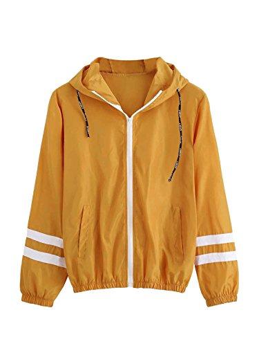 (SweatyRocks Women's Colorful Splash Printing Zip up Windbreaker Jacket with Hood (Large, Mustard) )