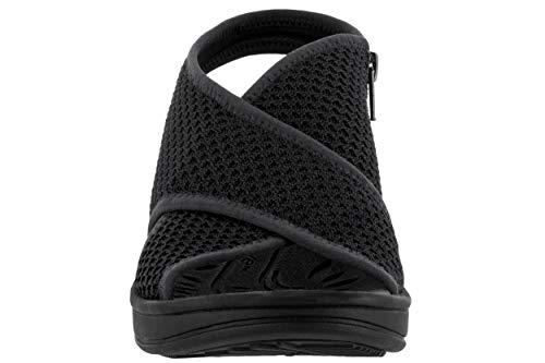 Easy Street Women's Jolly Wedge Sandal, Black Fly Knit - 6 M US ()